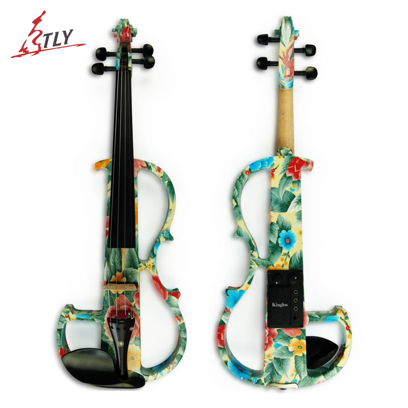 Kinglos Advanced Electric Art Violin Colored Flowers Solid Wood Silent Violin Full Size 4/4 Ebony Fittings w/ Parts(DSG 1102)