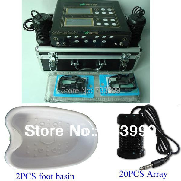 hot! Dual detox machine foot detox spa 1 detox machine ionic foot spa+2 pcs foot basin and 20 ion arrays frees shipping 2017 hot foot spa machine ion cleanser foot spa machine detox machine foot health care