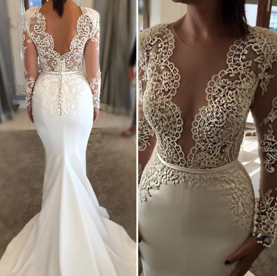 Elegant Lace Appliques   Prom     Dresses   Long 2019 Gorgeous Backless Satin Evening   Dresses   Custom Make Long Sleeves Party   Dresses