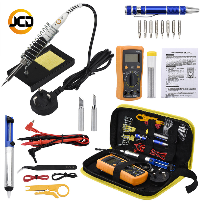 Jcsolder 110V 220V Soldering Iron Kit With Digital Multimeter, 60W Adjustable Temperature Welding Solder, Digital Multimeter