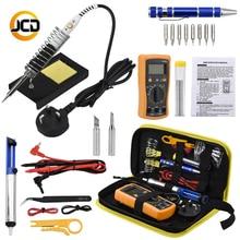 Jcsolder 110V 220V Soldering Iron Kit with Digital Multimeter, 60W Adjustable Temperature Welding Solder, Multimeter