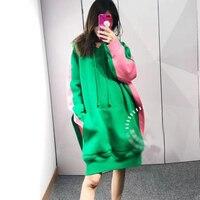 100% хлопковые толстовки с капюшоном Для женщин карман лоскутное кофты с капюшоном Повседневное Длинная толстовка платье Свободные Осень 2018
