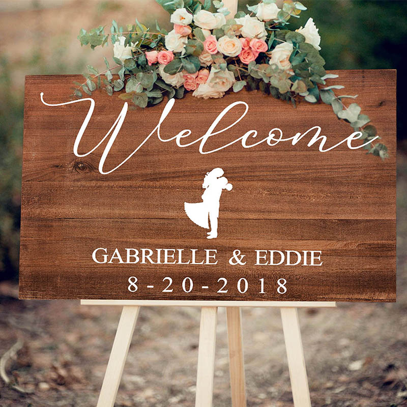 Rustic Wedding Signs.Us 26 39 12 Off Personalized Entrance Welcome Wedding Signs Rustic Wedding Guestbook Sign With Couple Name Date Custom Wooden Party Welcome Sign In