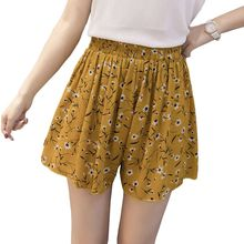 Suelto floral de boho de las mujeres ocasionales shorts de gasa de talla grande Pantalones cortos de lunares verano M30270
