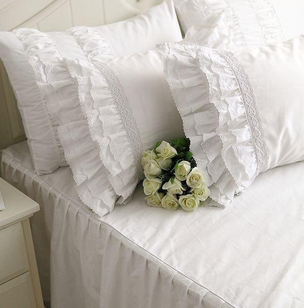Buy Luxury Ruffles Bed Skirt Bedspread Princess Bedding Sets Queen King 4pcs