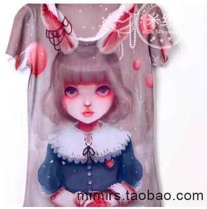 Los niños ropa de bebé camiseta de manga corta impresión de la historieta del muchacho y de la muchacha t shirts 3D impresión Lolita conejo 66