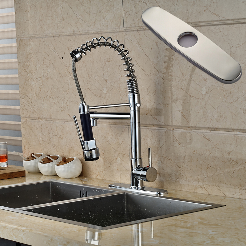 Chrome Single Lever Kitchen Faucet One Hole with Hot and Cold Water Two Swivel Spout Mixer