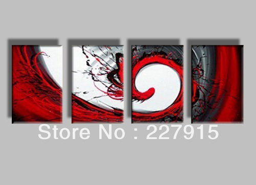high quality 100%hand-painted without frame <font><b>home</b></font> <font><b>decoration</b></font> red line <font><b>simple</b></font> modern abstract oil painting on canvas 4panel