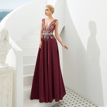 SINGLE ELEMENT Beaded Crytals V Neck Mother Of The Bride Dresses