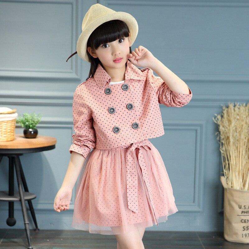 Fashion 2pcs set Autumn Winter Girls Lace Dot Bow Clothes Baby Christmas School Uniform Button Suit
