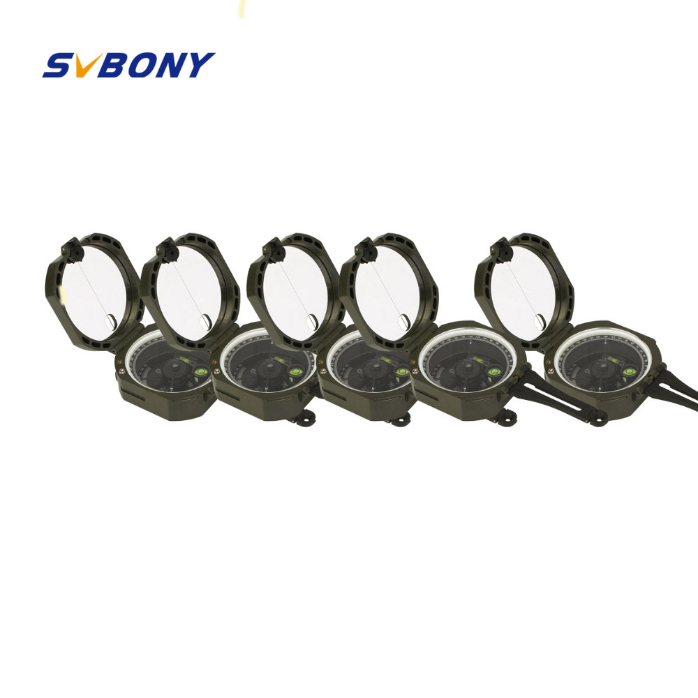 5 pcs SVBONY Compass Professional Military Outdoor Survival Camping Equipment Pocket Compass Lightweight Wholesale F9134 7356 15 led compass bivouac camping lantern light lamp travel outdoor exercise equipment with compass