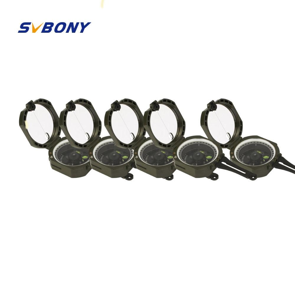 5 pièces SVBONY Boussole Militaire Professionnel de Survie En Plein Air Camping Équipement Boussole de Poche Léger En Gros F9134