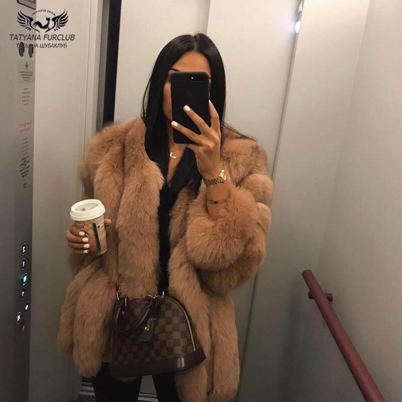 Tatyana Furclub réel manteau de fourrure manteau de fourrure de renard naturel pour les femmes veste fille hiver manteau fille rose col rond à manches longues Style de rue