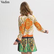 Vadim stylish chains print patchwork pleated dress long sleeve turn down collar pleated female casual dresses Vestidos QA543