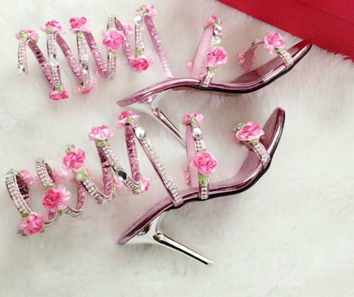 e1a6ee82bb84c Dropwow Pink White Flower Summer Luxurious gladiator sandals women ...
