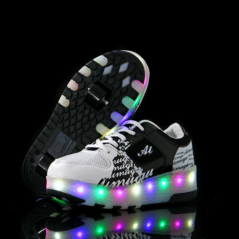 Kids shoes children led 2018 heelies sports sneakers with Double TWO wheel boy roller skate casual shoe with roller zapatillas