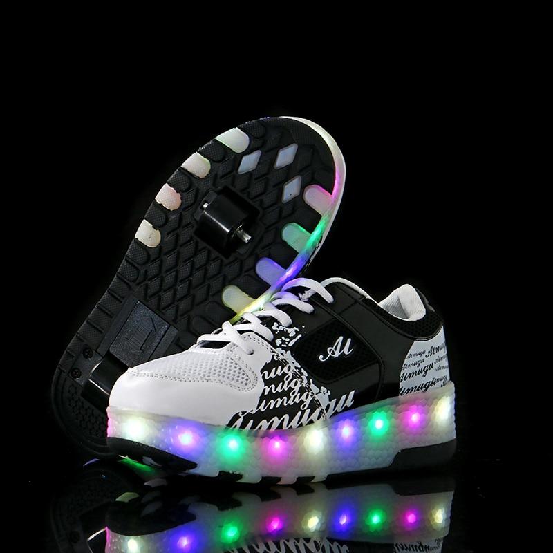 Enfants chaussures enfants led 2018 heelies sport sneakers avec Double DEUX roue garçon rouleau skate casual chaussures avec rouleau zapatillas