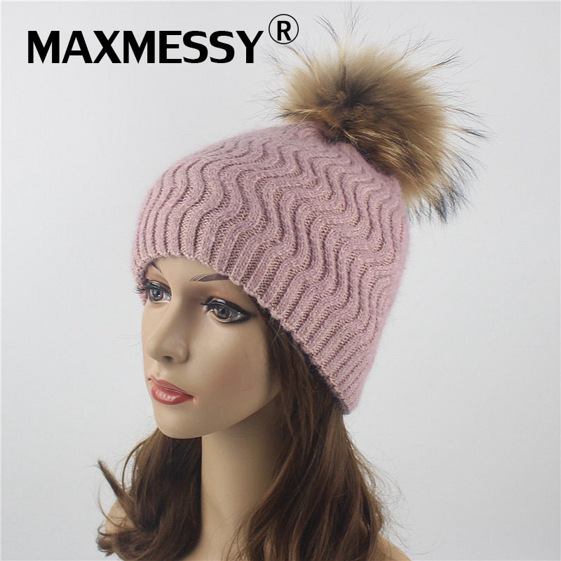 MAXMESSY Winter Double-deck Knitted Stripes Cashmere Wool   Skullies     Beanies   Women Hat Winter Caps Female Pompon Hats MH079