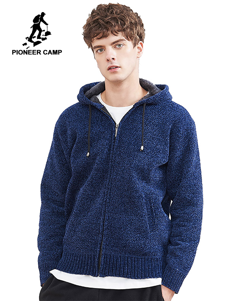 Pioneer Camp New Winter Sweater Men Brand Clothing Solid Thick Warm Hooded Cardigan Male Quality Zipper Mens Sweater AMS802374
