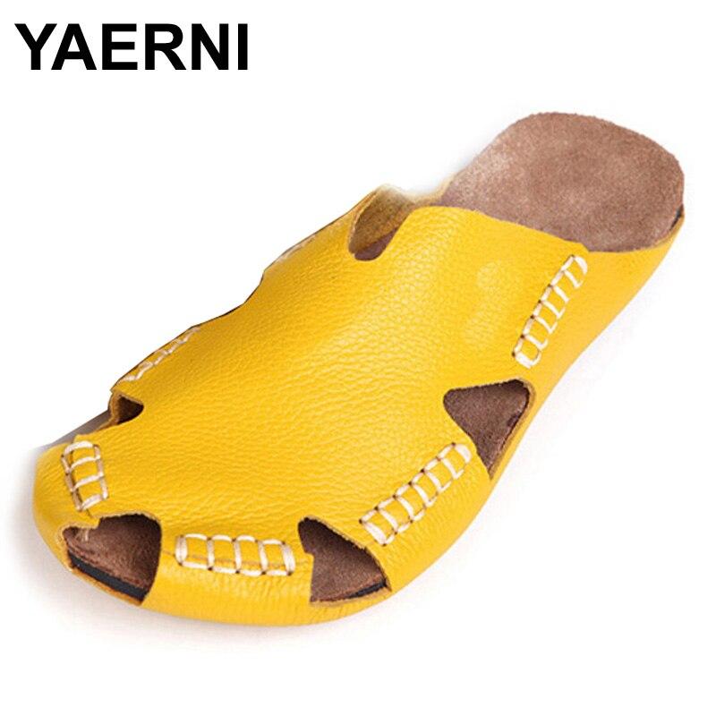 Yaerni 35-45 Для женщин тапочки 100% натуральной кожи Гладиатор тапочки Для женщин летние Обувь пляжные сланцы; Дамская обувь