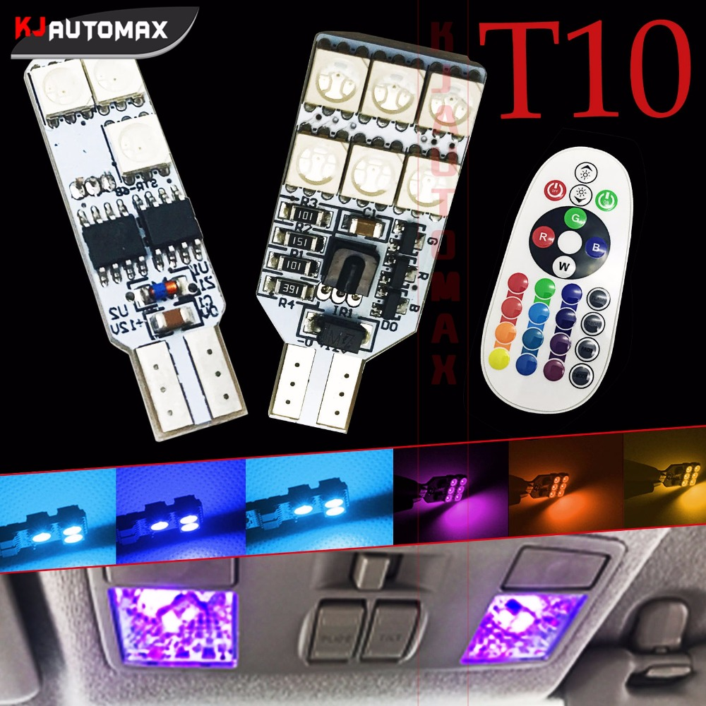 2pcs Remote Control T10 <font><b>W5W</b></font> 168 Car Interior RGB <font><b>LED</b></font> Dome Reading Light DC 12V 6SMD 12SMD <font><b>5050</b></font> Lamp Bulb CE