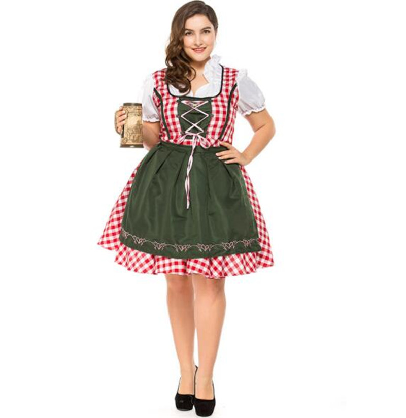 plus size Germany Bavaria Oktoberfest beer festival work clothes Costume Halloween Carnival Party Cosplay Fancy short dress A040