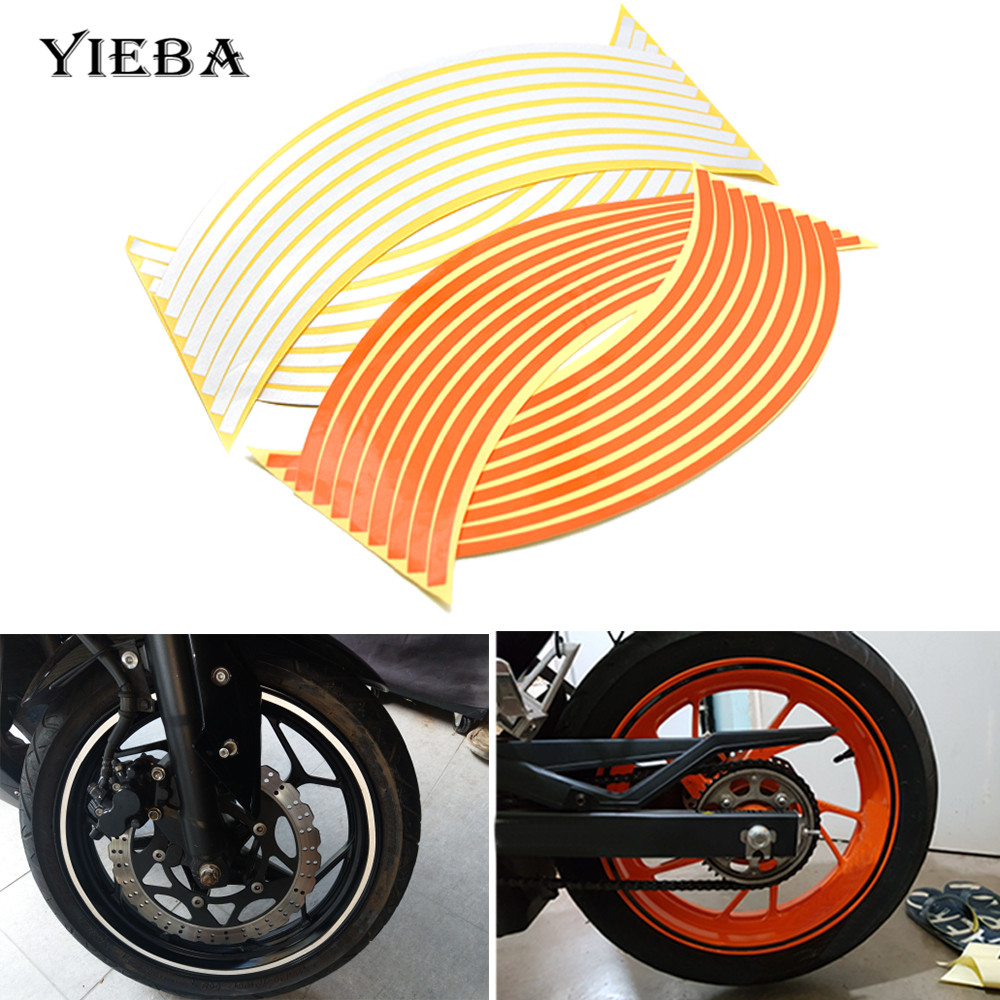16 Bands Motorcycle Accessories 17/18 inch  6 Colors Car Styling Wheel Sticker Tire Hub Rim Stickers Reflective Tape  Universal
