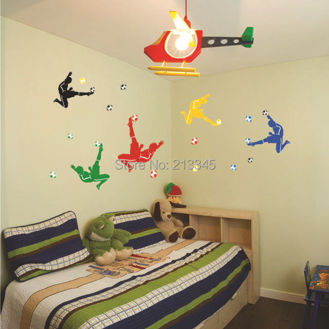 Fundecor] colorful and creative football wall stickers boy bedroom ...