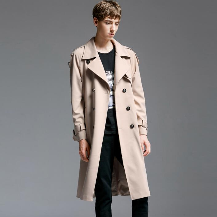 2018 new designer loose double breasted trench coats mens long coat men clothes slim fit overcoat man long sleeve england beige