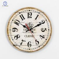 European Solid Wood Old Wall Clock Cartoon Landscape Living Room Wall Clocks MDF Watches Living Room Decoration Bell