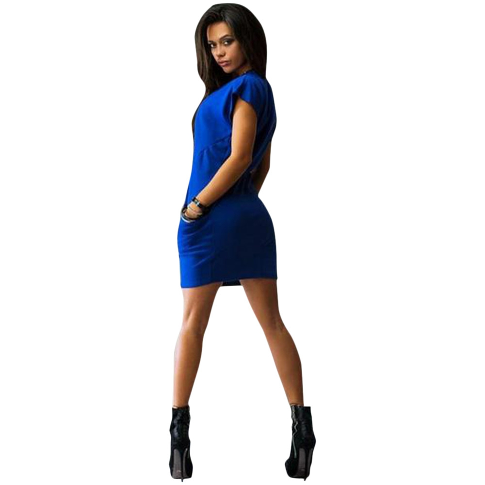 VESTLINDA Bodycon Dress Women Sundress Brief Solid Color Slim Sexy Dress O Neck Short Sleeve Mini Shirt Dress Summer Vestidos 2