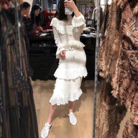 Drop Shipping Woman Patchwork Lace Embroidery Long Dress 2019 Spring Designer White Women Flare Sleeve Runway Party Long Dresses