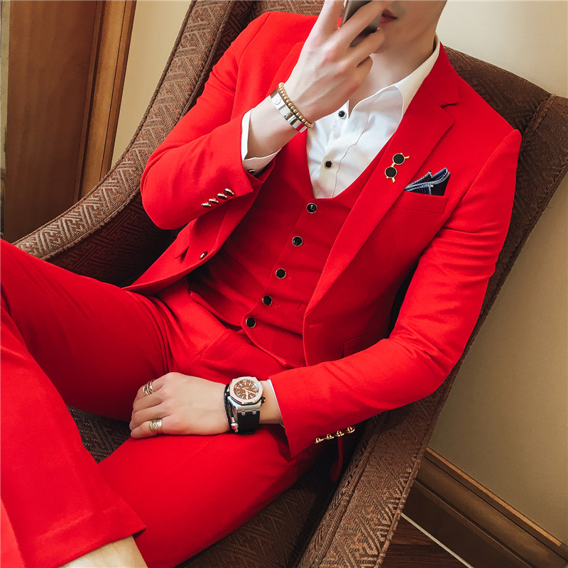 3PC Terno Masculino Korean Slim Fit Suit Men Clothes 2018 Business Formal Wear Dress Suits Plus Size Wedding Suits For Men 4XL-S