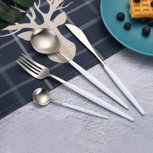 Best Hot Sale 4 Pcs/set White silver Dinnerware Set 304 Stainless Steel Western Cutlery  Kitchen Food Tableware Dinner