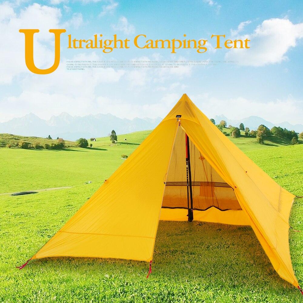 Сверхлегкий 2 местная палатка Портативный альпинизмом палатки двухсторонний силиконовое покрытие Водонепроницаемость палатку