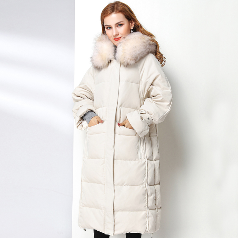 Women's White Duck   Down   Jacket 2019 Winter   Coat   Jacket Women Real Natural Fur Collar Female Hooded Warm Jacket Long   Down   Parka