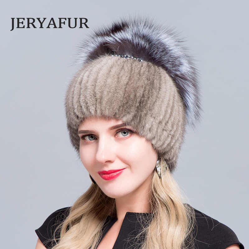 d184347e06f25 JERYAFUR 2018 Fur factory wholesale mink fur hat Fox and rabbit knitted  wool liner fashion winter
