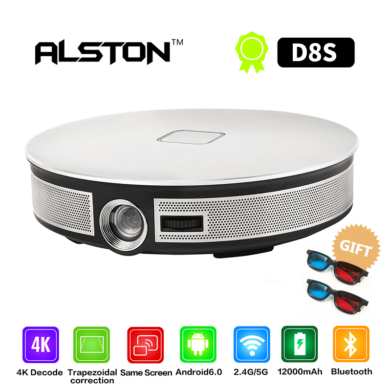 Projector ALSTON 300inch Android Portable 1080P Battery WIFI. MINI 1280x720p 3D LED D8S