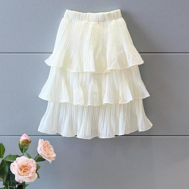 sweet girls long skirt 2016 summer new chiffon material girls pettiskirt saia tutu suit 2-7T white children etek