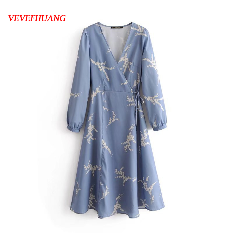 Summer Dress Long Sleeve Solid Floral Printed Decoration Vintage Sexy Deep V-neck Elegant Cuffs Buckle Waist Tied Women Dresses