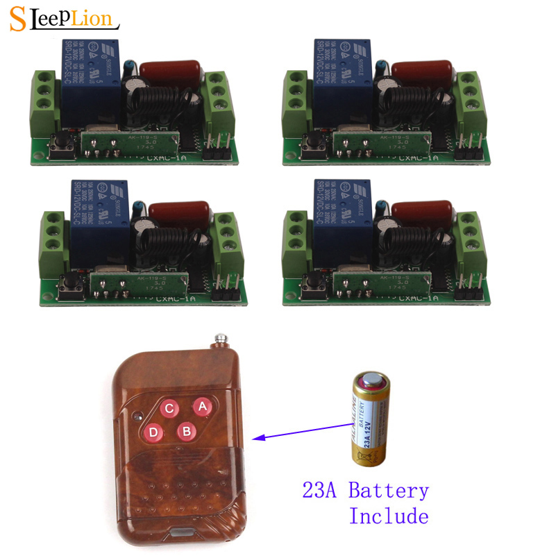 Sleeplion 220V 10A 4 Way Remote Wireless Switch Universal Remote Control Light Toggle Switch 220V 433MHz 315MHz 4 Receiver