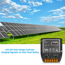 Anself  Solar Charge Controller Charging Regulator for Solar Panel Battery Overload Protection 10A 12V/24V tracer2606bp new bp series mppt epever solar controller charging regulator for lithium battery apply use 10a 10amp