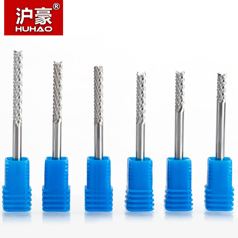 HUHAO 1pcs 3.175mm 4mm 6mm Carbide Tungsten Corn Cutter Cutting PCB Milling Bits End Mill CNC Router Bits For  Engraving Machine