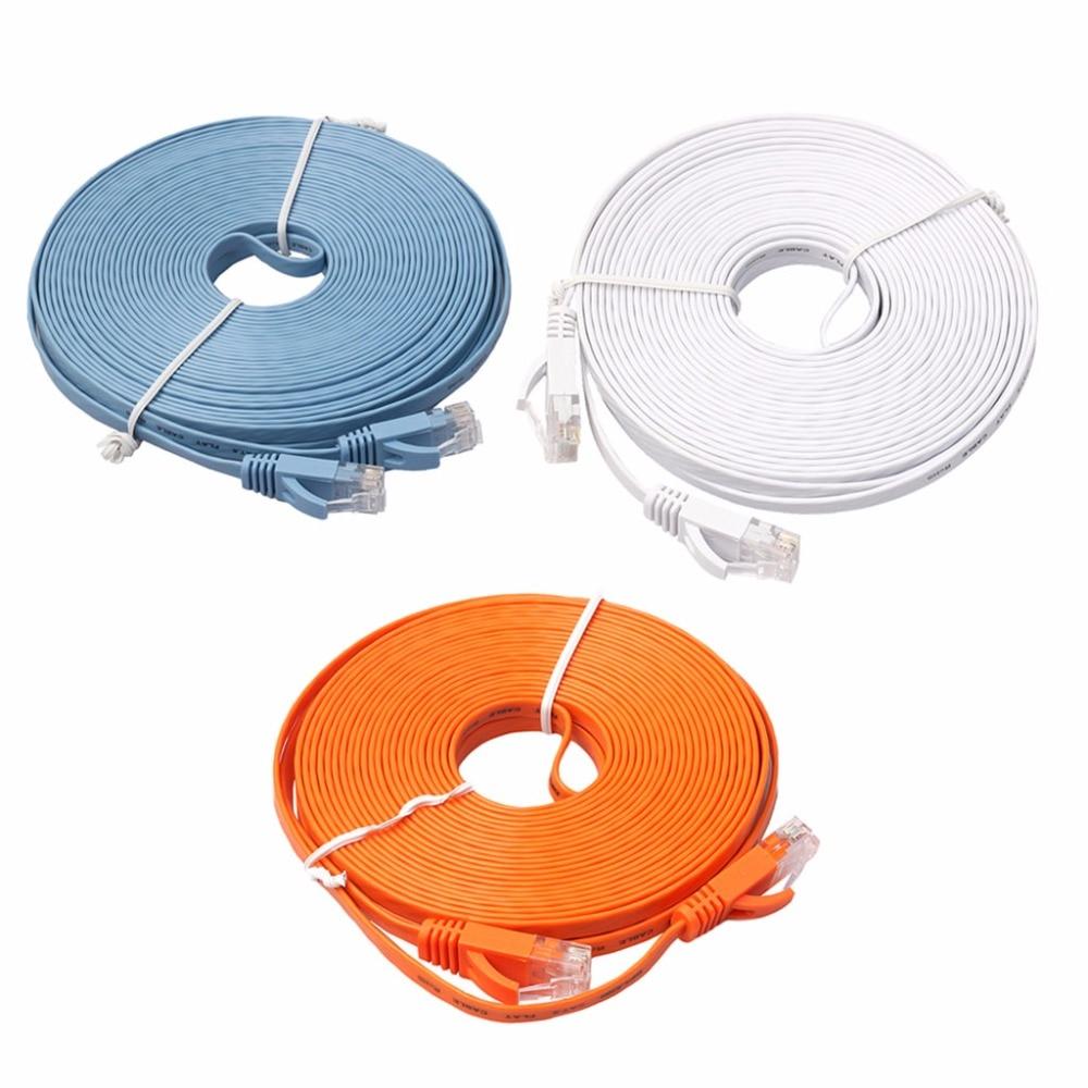 Ethernet CAT6 Internet Network Flat Cable Cord Patch Lead RJ45 For PC Router New Drop shipping-PC Friend 50ft 15m rj45 cat5 cat5e ethernet internet lan network cord cable drop shipping