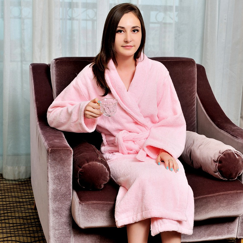 Cotton women bathrobe men pajamas nightgown girls towel fleece thick warm long soft XL autumn winter white pink blue