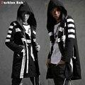Прохладный мужская Белый Полосатый Черный С Капюшоном Пальто Осенняя Мода Уличная Пальто 2016