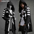 Cool Men's White Striped Black Hooded Trench Coat Autumn Fashion Streetwear Coats 2016