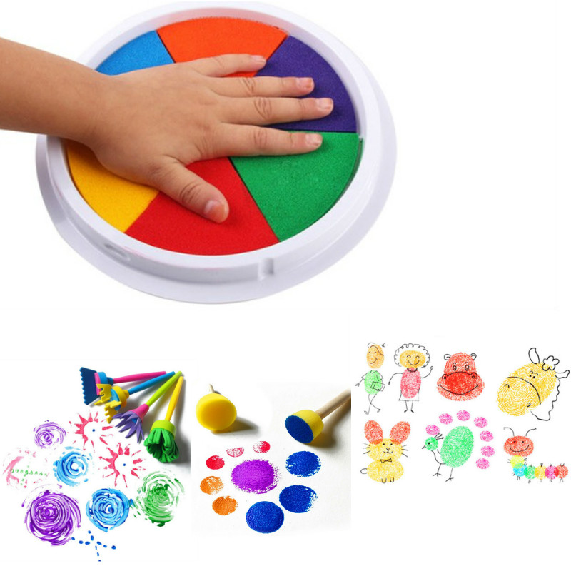 Funny 6 Colors Ink Pad Stamp DIY Finger Painting Craft Cardmaking For Kids Montessori Drawing Toys Learning Education Kids Toys