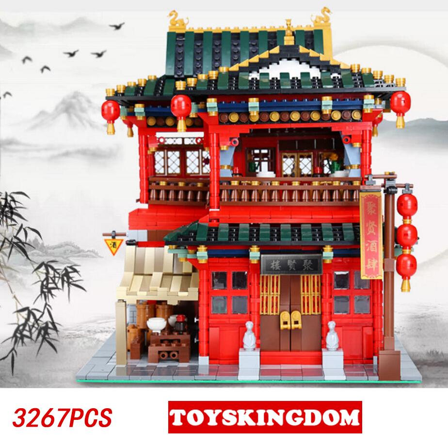 Hot City Street View Chinatown Juxian Restaurant MOC Building Block Rickshaw Man Fortuneteller Figures Bricks Toys Collection compatible lepin city mini street view building blocks chinatown satin silk store with saleman figures toys for children gift