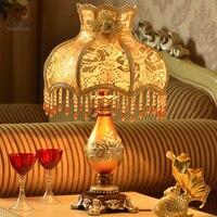European fashion vintage luxury rezin body table lamp princess rustic bedroom bedside Fabric lampshade table light fixture